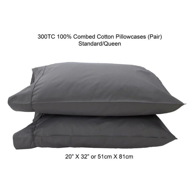300TC 100% Combed Cotton Sheets Grey - Down Under Bedding and Mattresses