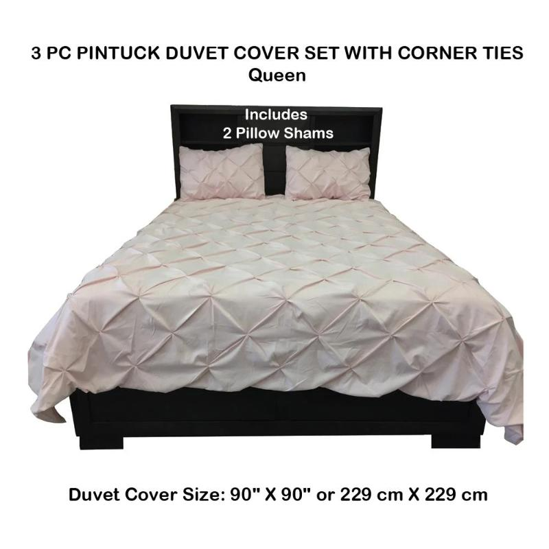 3 PC Pintuck Duvet Cover Set With Corner Ties - Down Under Bedding and Mattresses