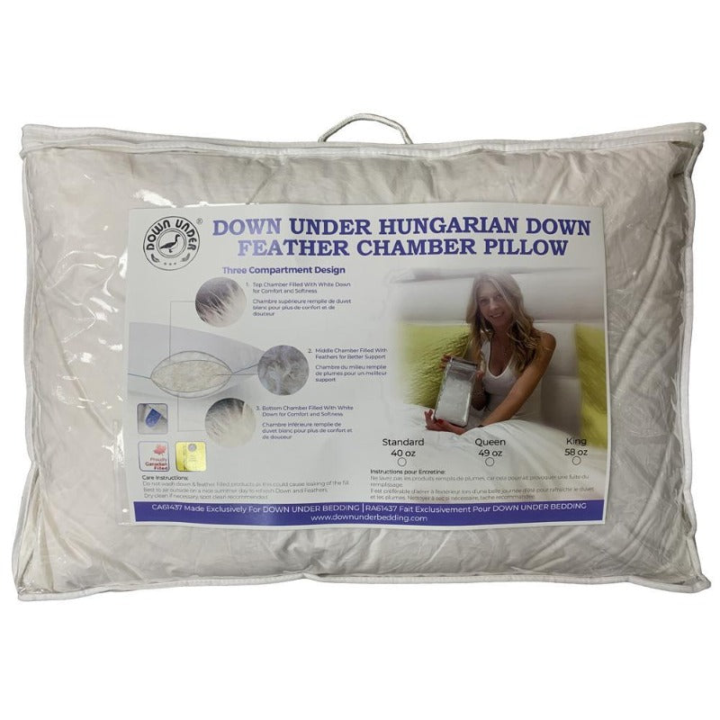DOWN UNDER Filled in Canada Hungarian Down Feather Chamber Bed Pillow with side Gusset - Down Under Bedding and Mattresses