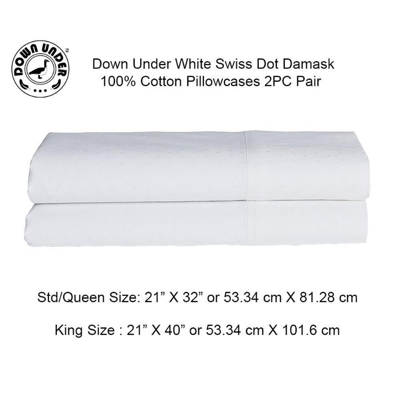 Down Under White Swiss Dot 100% Cotton Pillowcases (Pair) - Down Under Bedding and Mattresses