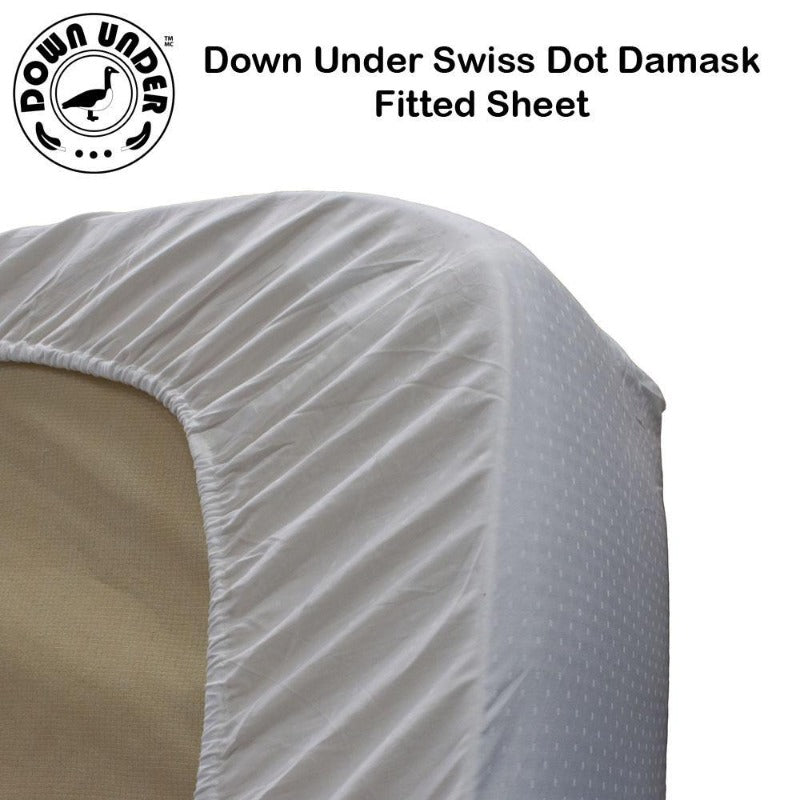 Down Under White Swiss Dot 100% Cotton Fitted Bed Sheet - Down Under Bedding and Mattresses
