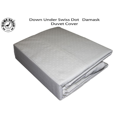 Down Under White Swiss Dot Damask Duvet Cover With Corner Ties - Down Under Bedding and Mattresses