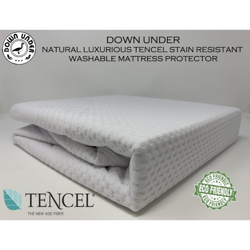 Natural Luxurious Tencel Stain Resistant Washable Mattress Protector - Down Under Bedding and Mattresses