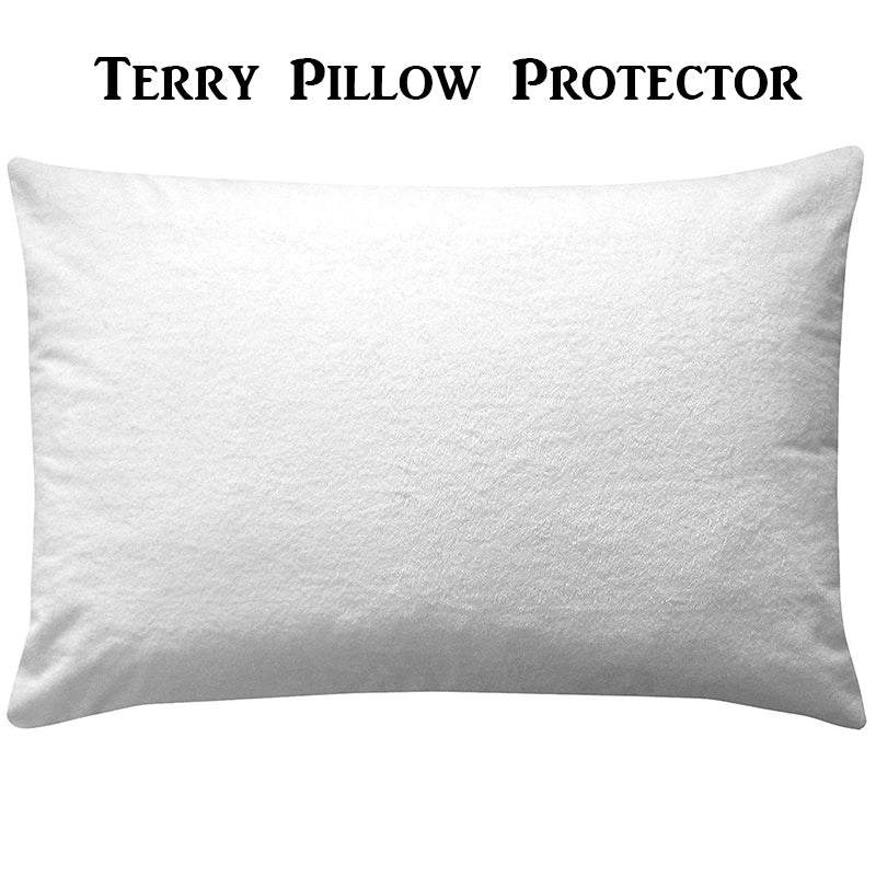 pillow protector cotton waterproof bug dust mites mold resistant soft breathable zippered stain moisture-wicking sweat terry