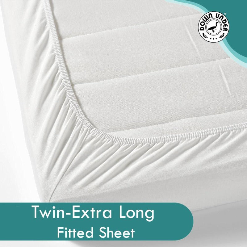 fitted twin xl sheet cotton polyester blend 250 thread count elasticized washable wrinkle-free elegant easy care comfortable
