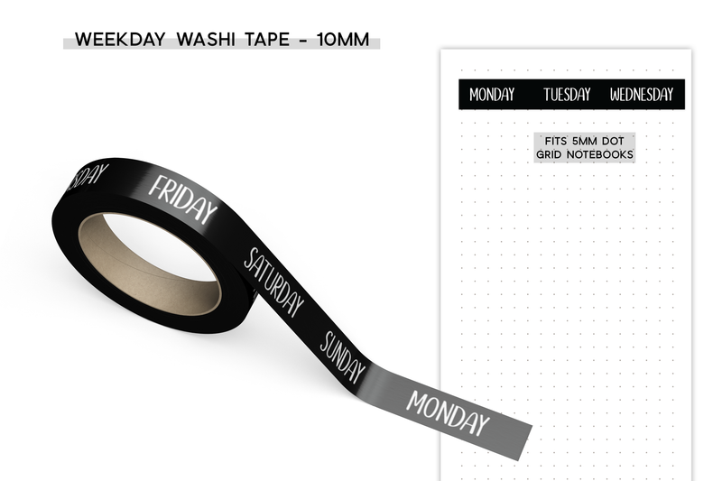 Weekday Washi Tape - 10mm - Black Background