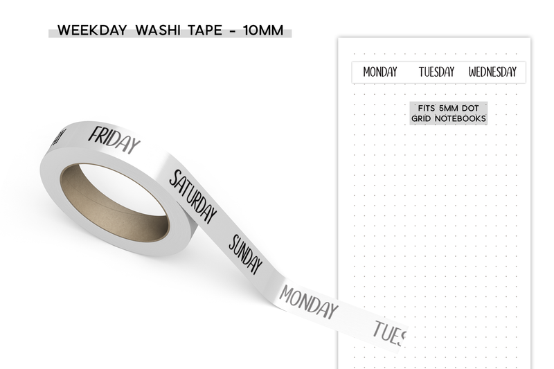 Weekday Washi Tape - 10mm - White Background
