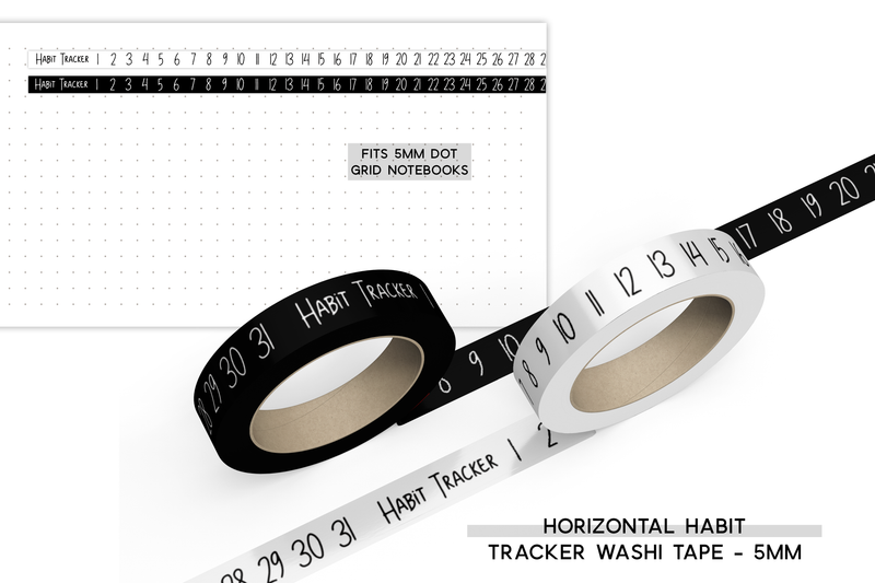Horizontal Habit Tracker Washi Tape - 5mm