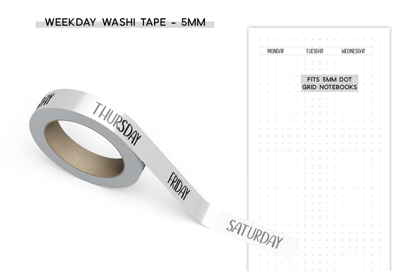 Weekday Washi Tape - 5mm - White Background