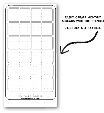 Monthly Layout Stencil | Dot Grid Slim Notebook