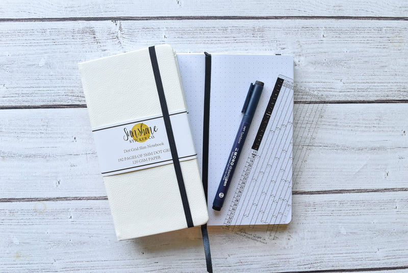 Dot Grid Slim Notebook - White Cover *2020 RELEASE*