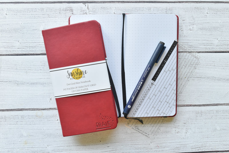 WIZARD COLLECTION Dot Grid Slim Notebook - Red Cover | BRAVE | *2020 RELEASE*