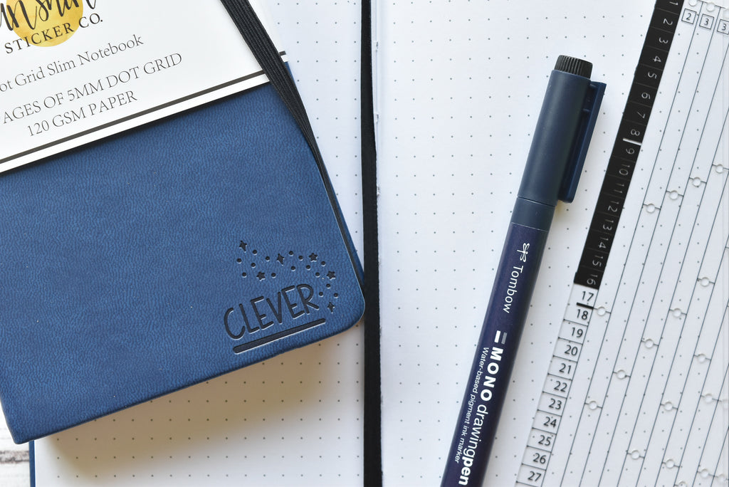 WIZARD COLLECTION Dot Grid Slim Notebook - Blue Cover | CLEVER |