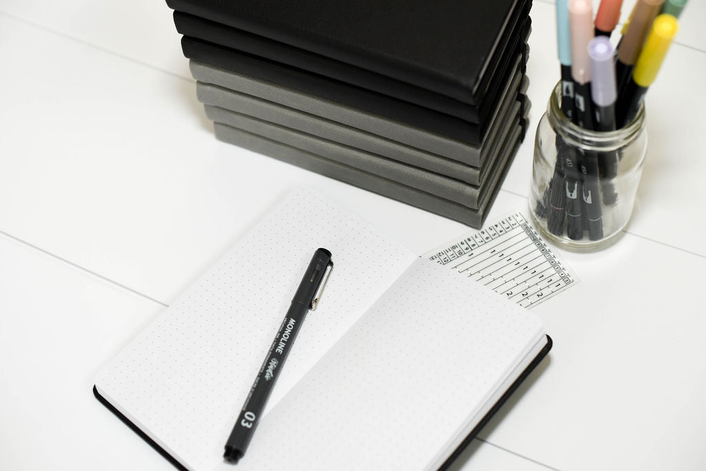 Dot Grid Slim Notebook - Black Cover