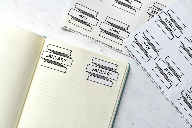 Monthly Bullet Journal Banner Stickers