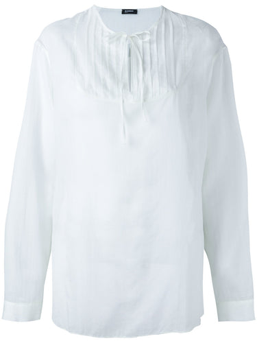 JIL SANDER NAVY TIE NECK SHIRT WHITE