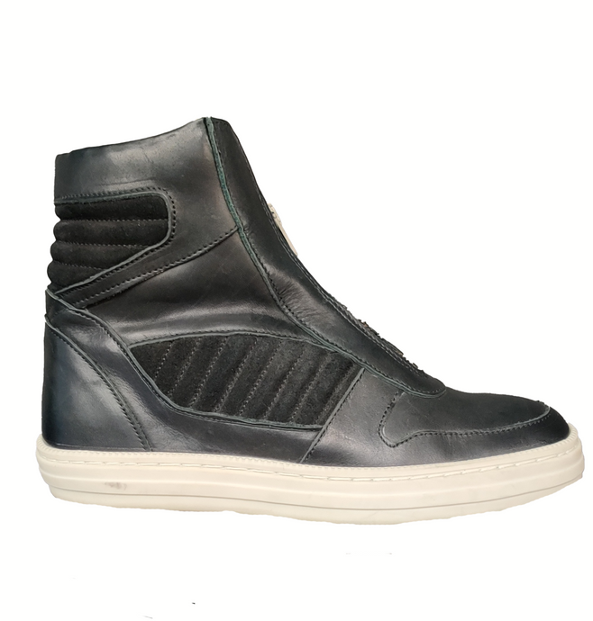 SWEAR LONDON - Black Leather High-Top Zip Sneakers