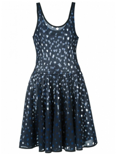 STINE GOYA FOIL DRESS BLUE