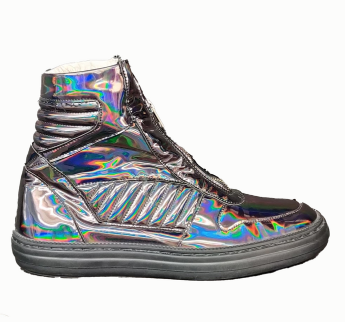 SWEAR LONDON- Metallic Zip-Up High-Top Sneakers