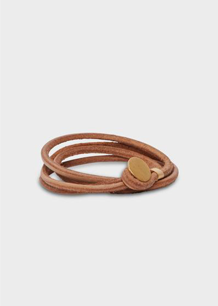 Agas & Tamar Leather Bracelet + 22k Gold Button