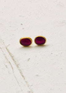 Agas & Tamar_24K Gold Sapphire Stud Earrings