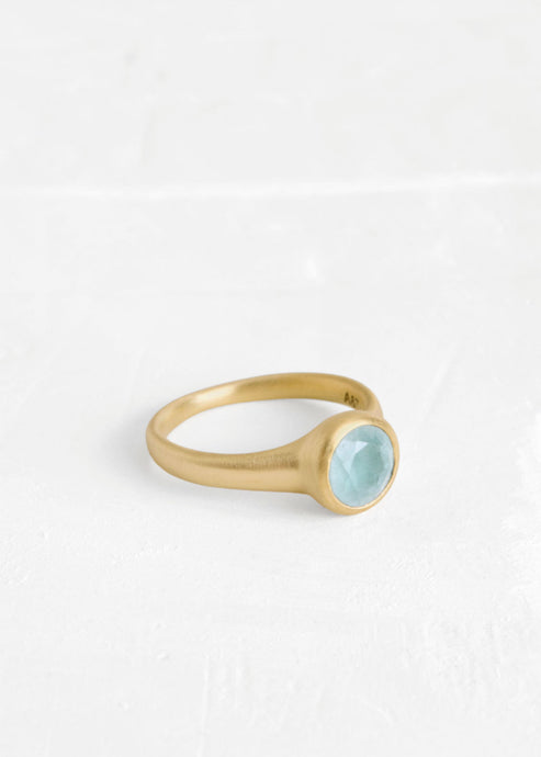Agas and Tamar_Round Ring with Aquamarine_RWN313