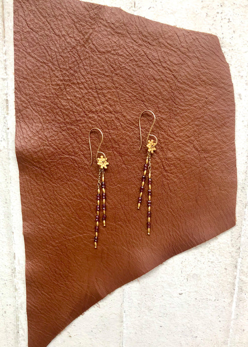 Debbie Fisher EGN16 Garnet & Gold Vermeil Beads On Gold Fill Earwire