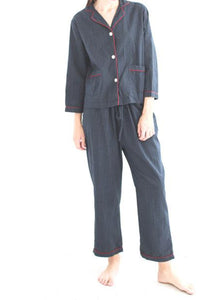 Domi_classic pajama set_navy with cross hatch