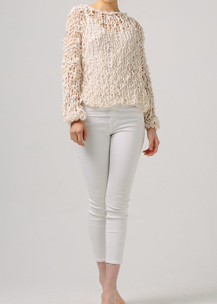 Fe  Knits Cotton Girlfriend Sweater Ecru