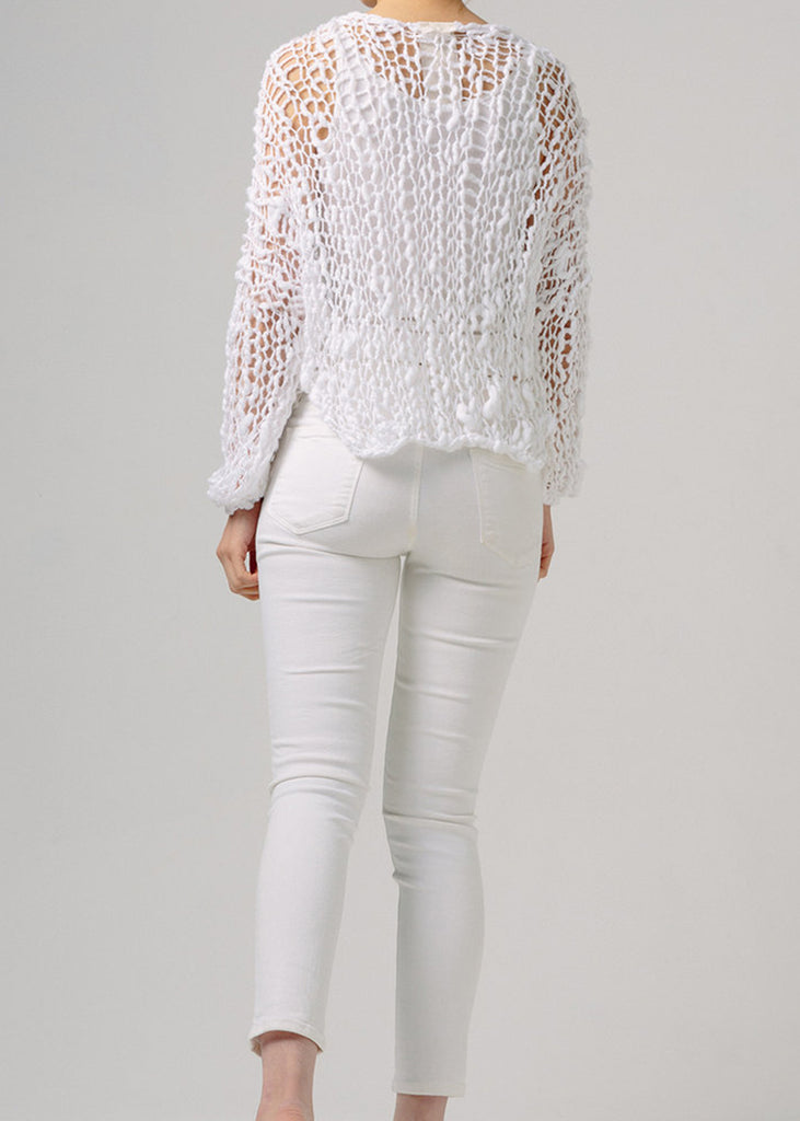 Fe Knits Cotton Girlfriend Sweater White