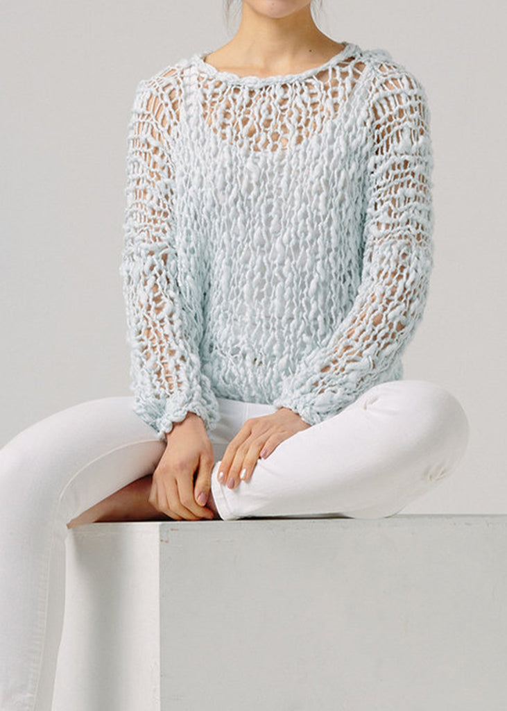 Fe Knits Cotton Girlfriend Sweater Blue