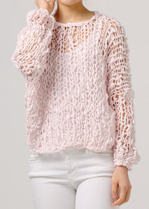 Fe  Knits Cotton Girlfriend Sweater Rose