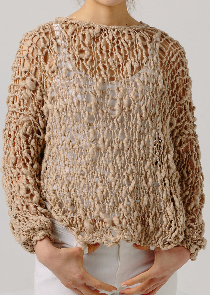 Fe Knits Cotton Girlfriend Sweater Nude