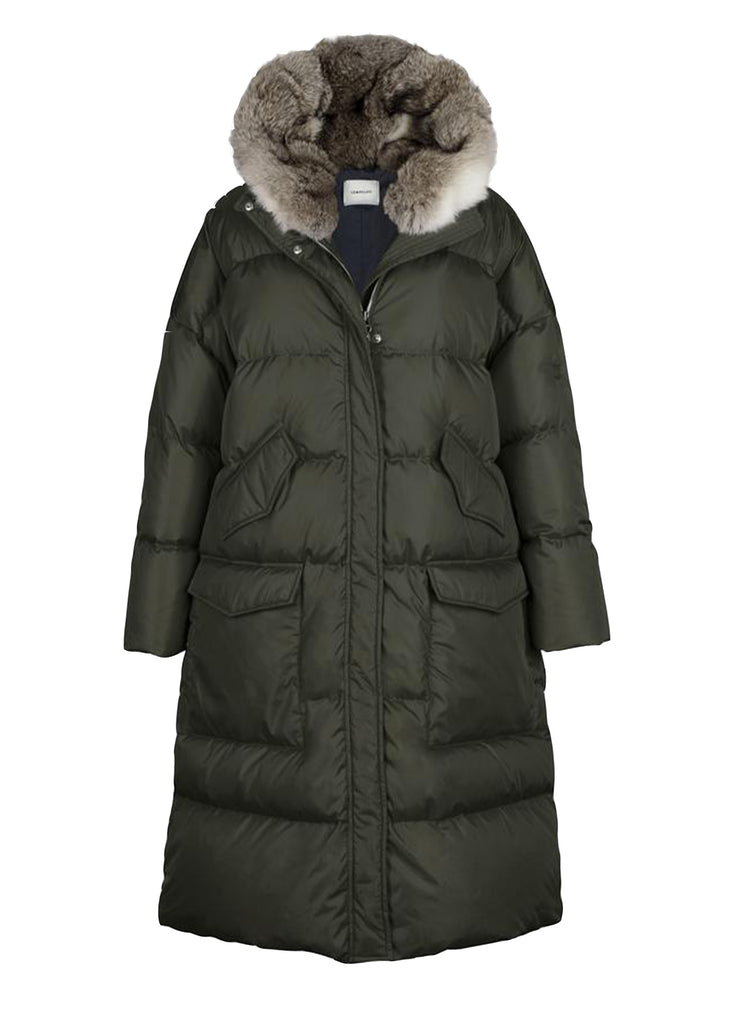 Lempelius_LONG OVERSIZED QUILTED DOWN PARKA WITH RABBIT FUR HOOD IN DRARK GREEN_276R