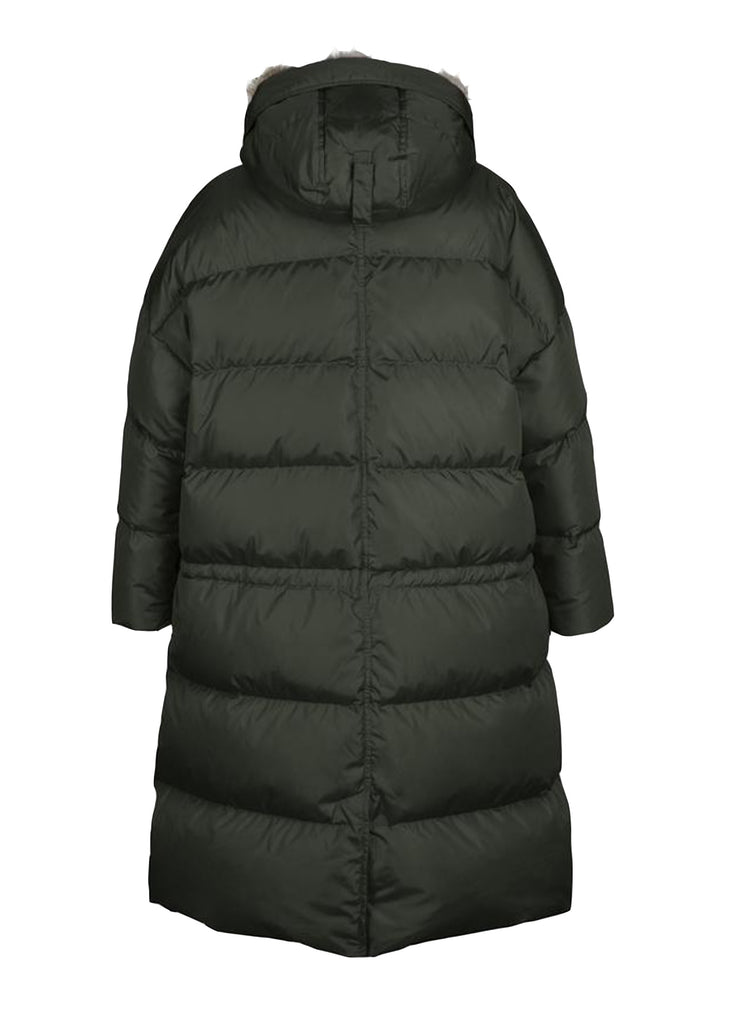 Lempelius_LONG OVERSIZED QUILTED DOWN PARKA WITH RABBIT FUR HOOD DARK GREEN_276R