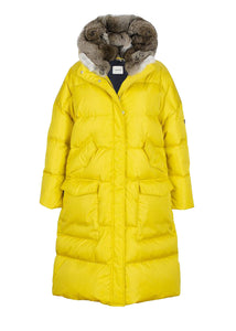 Lempelius_LONG OVERSIZED QUILTED DOWN PARKA WITH RABBIT FUR HOOD IN TRUE YELLOW_276R