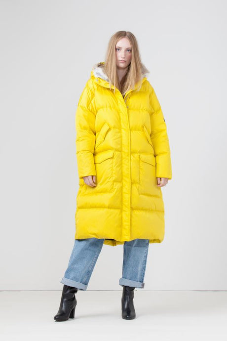 Lempelius_LONG OVERSIZED QUILTED DOWN PARKA WITH RABBIT FUR HOOD IN TRUE YELLOW_276E