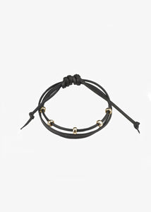 Mara MCS_Black and Gold Leather Bracelet