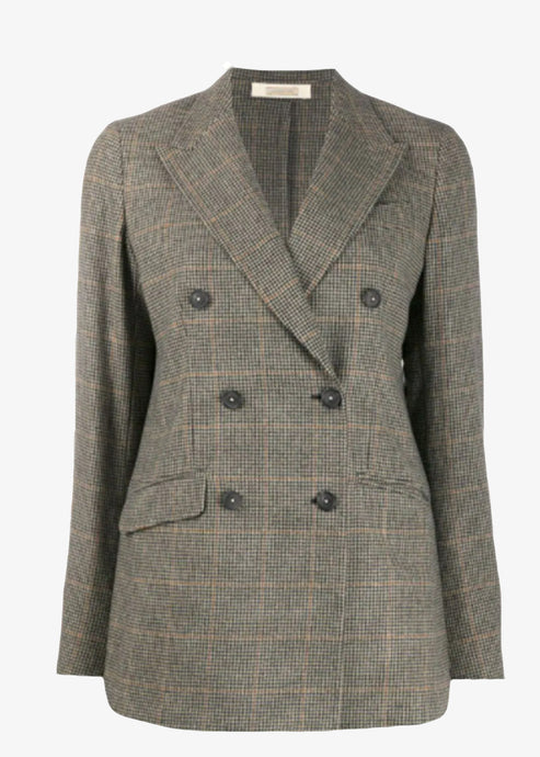 Massimo Alba_Carlotta_Double-Breasted Jacket_houndstooth pattern blazer_Zucca