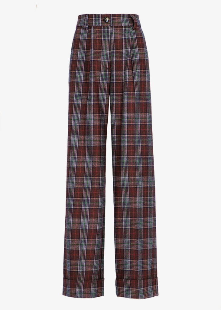 Momoni_NEFTI TROUSERS IN CHECK WOOL-COTTON BROWN