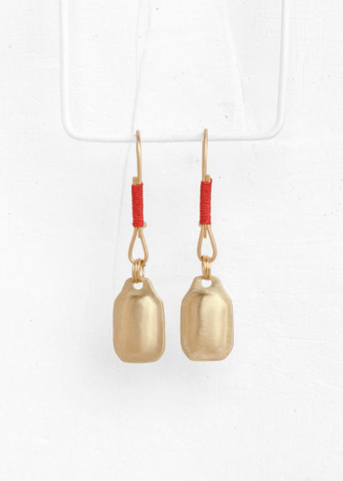 Agas & Tamar 14K Rectangle Earring W/ Red String