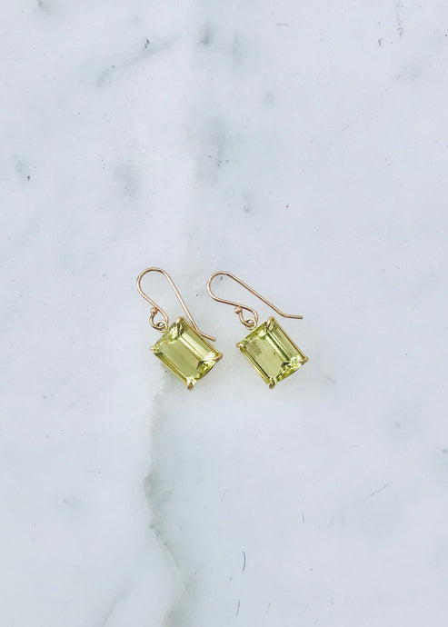 Rosanne Pugliese Emerald Cut Faceted Lemon Citrine Earrings