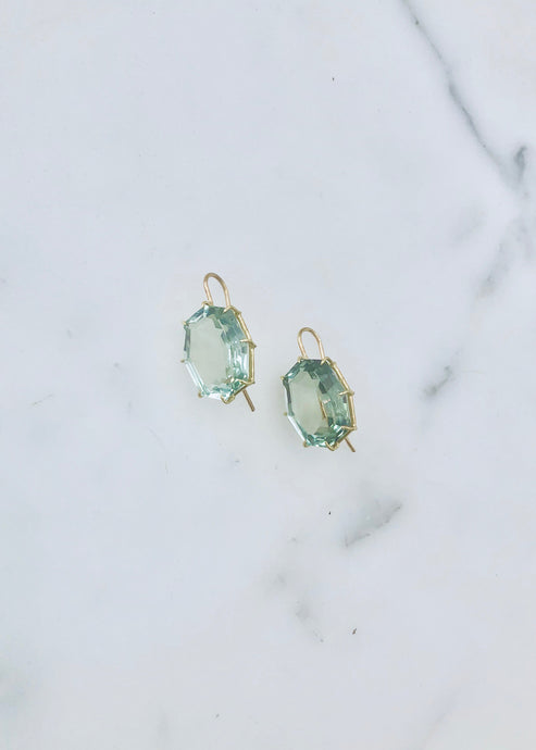 Rosanne Pugliese Green Amethyst Hexagon Drop Earring