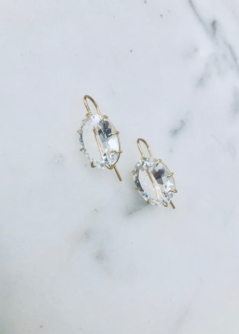 Rosanne Pugliese Large White Topaz Oval Drop Earrings