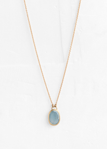 Agas & Tamar Rectangle Aquamarine Pendant & 14K gold chain