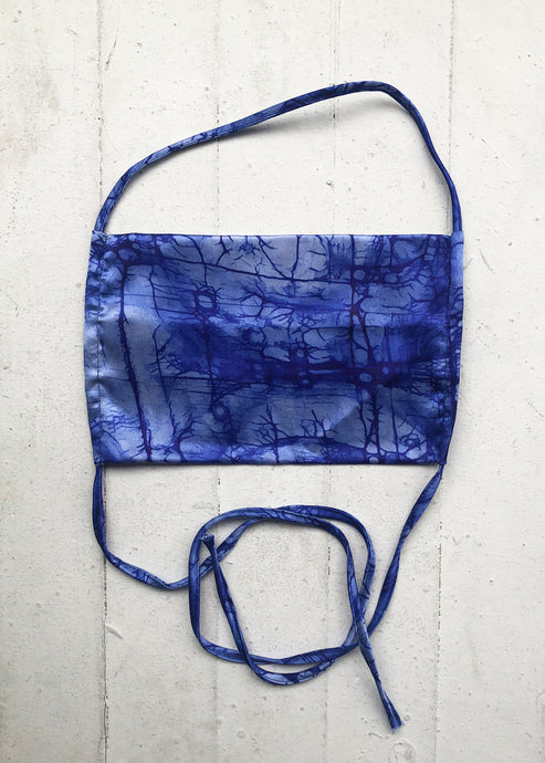 KES_Sustainable Washable Face Mask_Cobalt Handkerchief Print_Face Mask_Silk