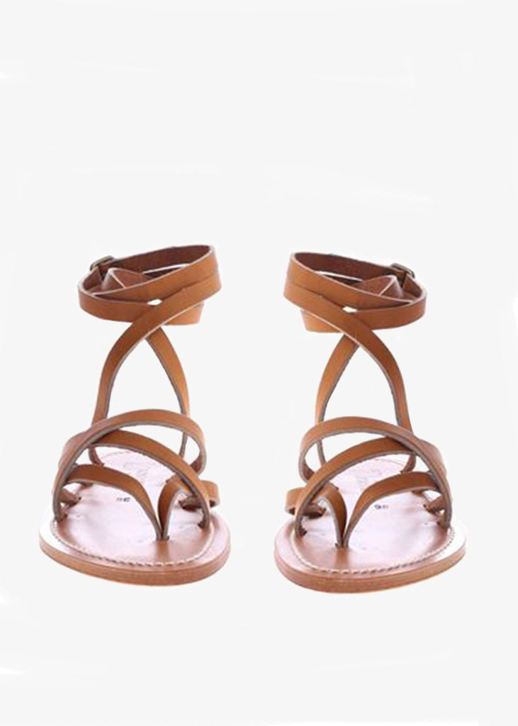 K. JACQUES ZENOBIE SANDALS IN BROWN LEATHER