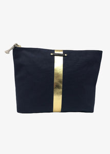 Kempton & Co. NAVY/GOLD STRIPE CANVAS BEACH POUCH