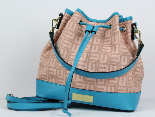 designer bucket bag. Teal bag. Teal crossbody bag.