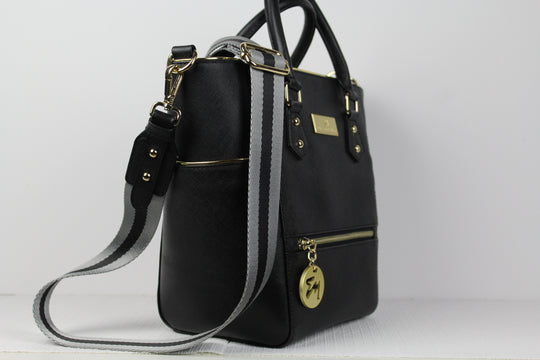 black satchel safifiano leather bag. Black handbag.